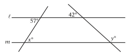 #GREprepexcercise Lines and m below are parallel. Find the values of x and y.jpg